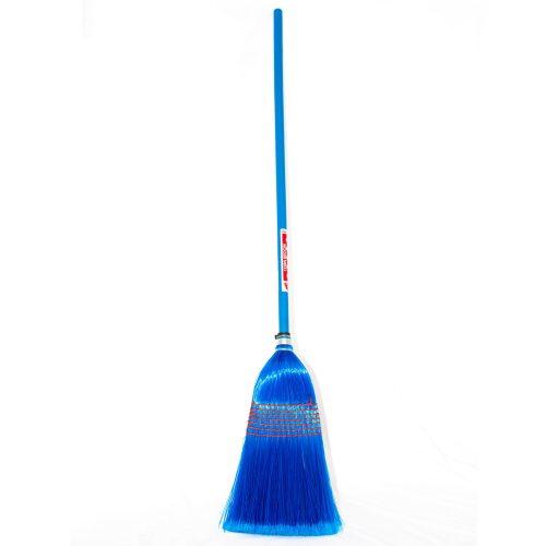 blue whole corn broom on white background
